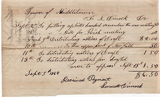 HANDWRITTEN RECEIPT TO THE TOWN OF MIDDLETOWN, CONNECTICUT FOR DIMOCK'S SERVICES IN 1862 RELATED TO THE CIVIL WAR. Middletown / Dimock Connecticut, Leverett.