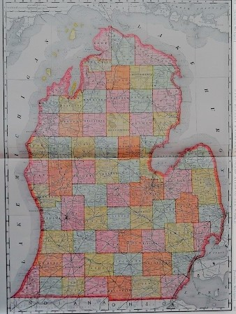 THE RAND-McNALLY VEST POCKET MAP OF MICHIGAN (SOUTHERN): Showing all Counties, Cities, Towns, Railways, Lakes, Rivers, etc. Michigan.