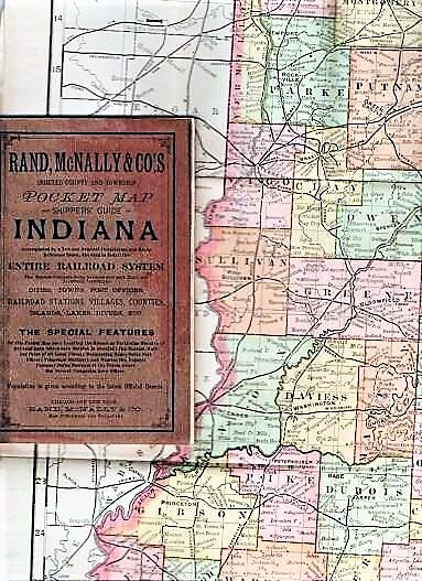 THE RAND-McNALLY VEST POCKET MAP OF INDIANA: showing all Counties, Cities, Towns, Railways, Lakes, Rivers, etc.; Population is given according to the latest official census. Indiana.