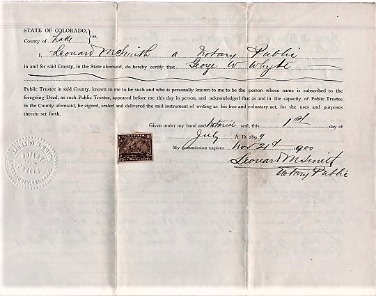 1899 RELEASE OF DEED OF TRUST FOR EMMA G. EDWARDS AND C.A. EDWARDS, COVERING THEIR HOUSE AND LOT IN LEADVILLE (LAKE COUNTY), COLORADO. Leadville Colorado.