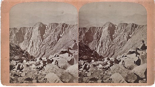 STEREOSCOPIC VIEW, SUMMIT OF PIKE'S PEAK--THE CRATER. Scenes on the Line of the Denver & Rio Grande Railway. Byron H. Colorado / Gurnsey.