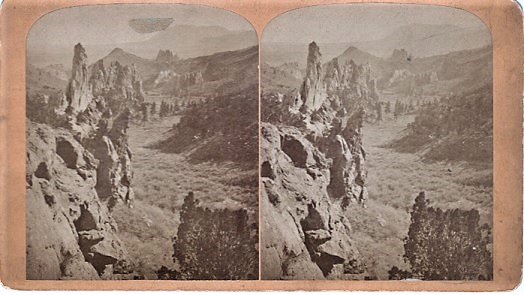 STEREOSCOPIC VIEW, GLEN EYRIE--FROM THE NORTH. Showing Echo Rock, Garden of the Gods, and Cheyenne Mountain. Scenes on the Line of the Denver & Rio Grande Railway. Byron H. Colorado / Gurnsey.
