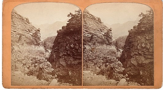 STEREOSCOPIC VIEW, THE UTE PASS: One Mile from Manitou House, Manitou, Colorado. Gurnsey's Rocky Mountain Views...Scenes on the Line of the Denver & Rio Grande Railway. Byron H. Colorado / Gurnsey.