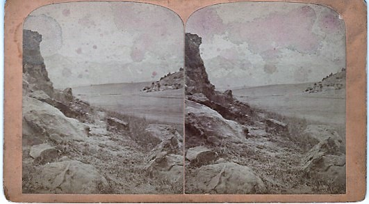 STEREOSCOPIC VIEW, PIKE'S PEAK, 14,336 FEET HIGH: Looking through Templeton's Gap, 16 Miles, Air Line, to Summit. Gurnsey's Rocky Mountain Views...Scenes on the Line of the Denver & Rio Grande Railway. Byron H. Colorado / Gurnsey.