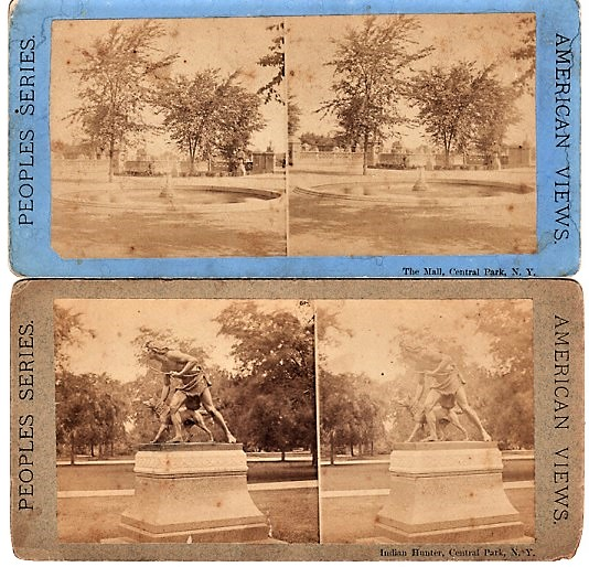 TWO (2) STEREOSCOPIC VIEWS OF CENTRAL PARK: THE MALL & INDIAN HUNTER [statue]. Peoples Series, American Views. New York City.