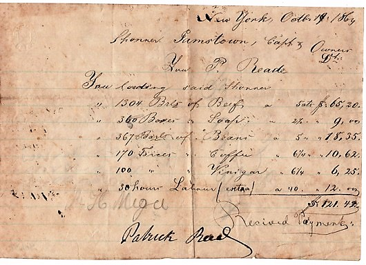 "HANDWRITTEN BILL FOR STORES LOADED AT NEW YORK IN 1864, ABOARD THE SCHOONER ""JAMESTOWN"", SIGNED BY PATRICK READE. Patrick Reade."
