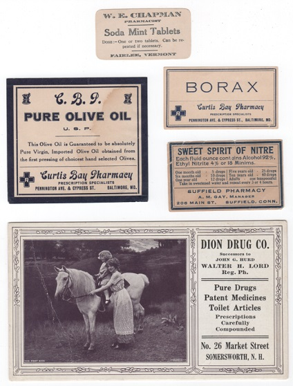 Five (5) labels and advertising pieces from various US pharmacies as described below. Pharmacy.