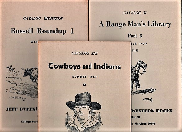 GROUP OF FOURTEEN (14) CATALOGS ISSUED BY JEFF DYKES / WESTERN BOOKS, 1967-1984. Jeff Dykes.