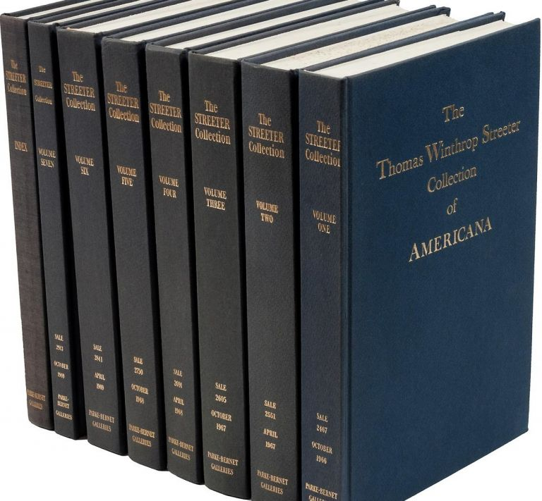 THE CELEBRATED COLLECTION OF AMERICANA FORMED BY THE LATE THOMAS WINTHROP STREETER...Volumes 1-7 + Index. Thomas Winthrop Streeter.