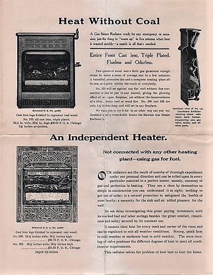 TRADE LITERATURE RE MANTELS, FIRE SETS, COAL GRATES, ODORLESS GAS GRATES, &C. MANUFACTURED AND SOLD BY DAWSON BROS. Dawson Bros.
