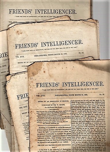 "FOURTEEN (14) ISSUES OF ""FRIENDS' INTELLIGENCER"" ISSUED IN 1860. Edited by an Association of Friends. Society of Friends."