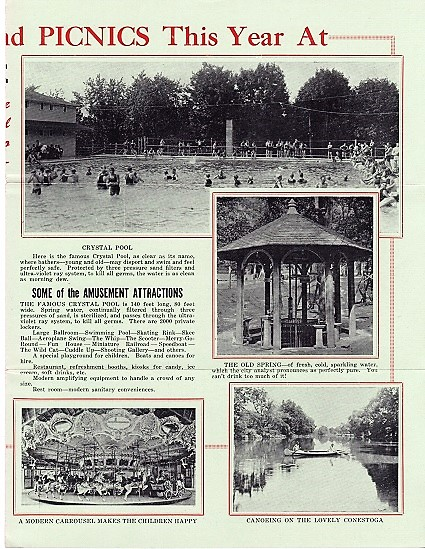 ROCKY SPRINGS PARK BROCHURE: Lancaster's Favorite Pleasure Grounds, affording a variety of healthful recreation, amusement and jollity. Lancaster / Rocky Springs Pennsylvania.