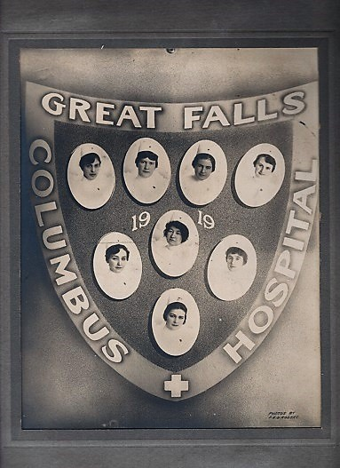 ORIGINAL PHOTOGRAPH OF THE NURSING CLASS OF 1919, COLUMBUS HOSPITAL, GREAT FALLS, MONTANA. Individual photos and photo-montage by F.E.G. Rogers. Great Falls / Columbus Hospital Montana.