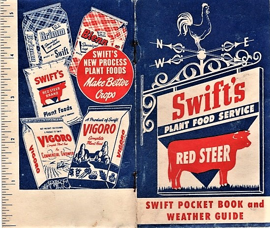 SWIFT'S PLANT FOOD SERVICE, RED STEER: SWIFT POCKET BOOK AND WEATHER GUIDE. Swift, Company.