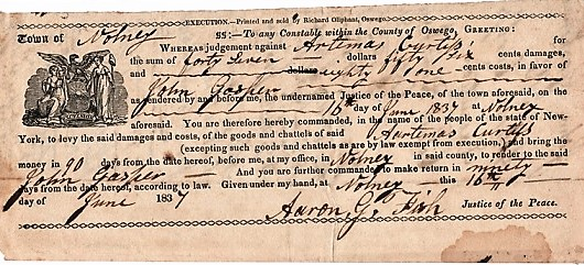 OSWEGO COUNTY COURT SUMMONS, 1837, ISSUED & SIGNED BY AARON G. FISH, JUSTICE OF THE PEACE. PRINTED BY RICHARD OLIPHANT, OSWEGO. Oswego County New York.