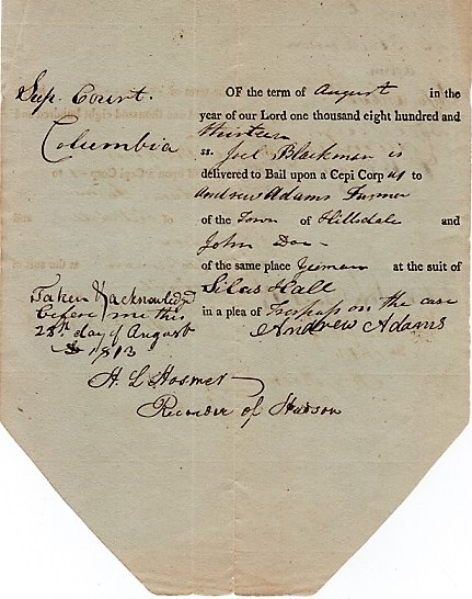 SUPREME COURT DECISION IN A SUIT OF TRESPASS AT THE TOWN OF HILLSDALE, 1813, SIGNED BY H.L. HOSMER, RECORDER OF HUDSON. Columbia County New York.