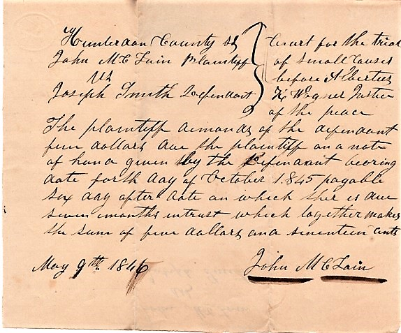 "COMPLAINT ""FOR THE TRIAL OF SMALL CAUSES"" BEFORE ALBERTUS K. WAGNER, JUSTICE OF THE PEACE, 9 May 1846. Hunterdon County / Wagner New Jersey, Albertus King."