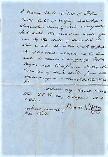1862 HANDWRITTEN REFUSAL BY THE WIDOW, NANCY NOLL, TO TAKE PROPERTY FROM HER DECEASED HUSBAND'S ESTATE. Lancaster County / Noll Pennsylvania, Nancy.