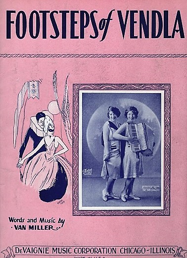 FOOTSTEPS OF VENDLA.; Words and Music by Van Miller. Footsteps.. sheet music.