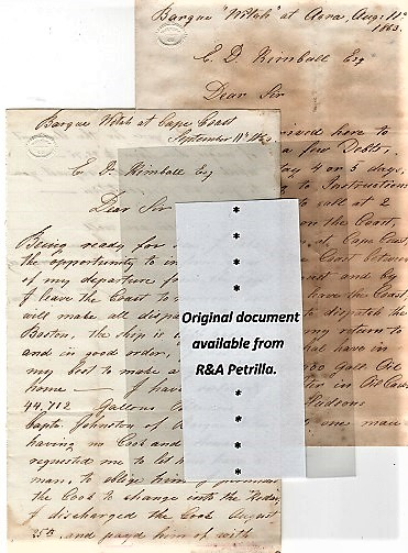 "1863 TRANSATLANTIC TRADE: TWO (2) HOLOGRAPH LETTERS, WRITTEN ABOARD THE SHIP ""WITCH"" OFF THE COAST OF GHANA, SOON TO SAIL HOME TO BOSTON + NINE (9) MARITIME TRADE DOCUMENTS REGARDING SALE OF THE AFRICAN CARGO OF GUM COPAL, PALM OIL, CINNAMON, MACE, &C. Capt. Edward Watson, others."