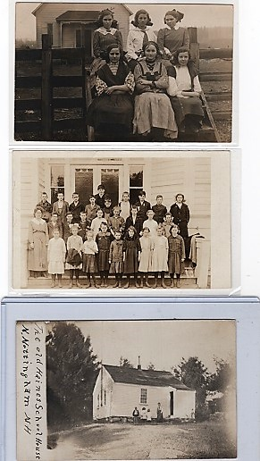 GROUP OF SEVEN (7) PHOTOGRAPHS & REAL-PHOTO POSTCARDS SHOWING VARIOUS AMERICAN SCHOOLHOUSES, STUDENTS & TEACHERS, CIRCA 1900-1910. One-room Schoolhouses.