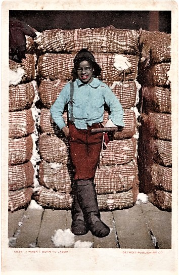 """I WASN'T BORN TO LABOR"": FULL-COLOR POSTCARD OF AN AFRICAN-AMERICAN BOY IN HIGH BOOTS AND CRUSHED FELT HAT, LEANING AGAINST A PILE OF COTTON BALES. Mississippi."
