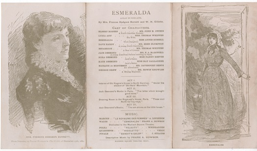 "ILLUSTRATED PLAYBILL FOR ""ESMERALDA,"" A PLAY IN FOUR ACTS, MADISON SQUARE THEATRE, WINTER SEASON, 1881-1882. Frances Hodgson Burnett, W H. Gillette."
