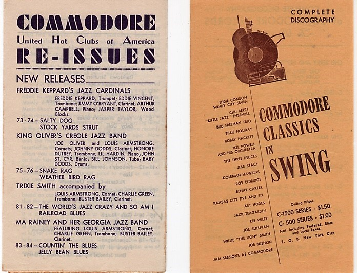 TWO (2) DISCOGRAPHIES OF JAZZ CLASSICS: Commodore United Hot Clubs of America Re-Issues, and Commodore Classics in Swing. Commodore Records.