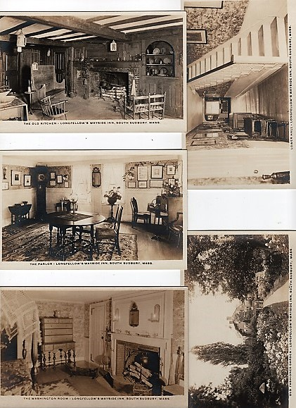 GROUP OF FIVE (5) REAL-PHOTO POSTCARDS OF LONGFELLOW'S WAYSIDE INN, SOUTH SUDBURY, MASSACHUSETTS, CIRCA 1901-1907. Henry Wadsworth Longfellow.