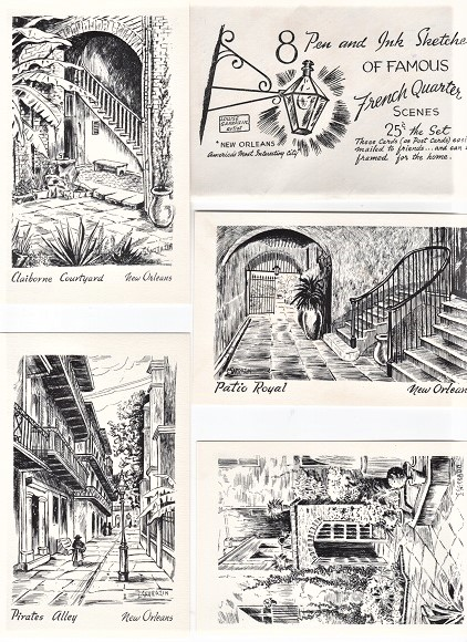 SET OF EIGHT (8) PEN AND INK SKETCHES OF FRENCH-QUARTER SCENES, DRAWN BY LOUISE SARRAZIN. New Orleans Louisiana.