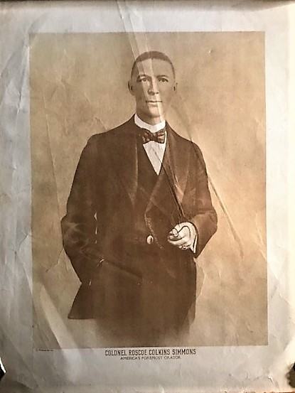 "LARGE PHOTOGRAPHIC PRINT, CAPTIONED ""COLONEL ROSCOE COLKINS SIMMONS / AMERICA'S FOREMOST ORATOR."" Roscoe Colkins Simmons."