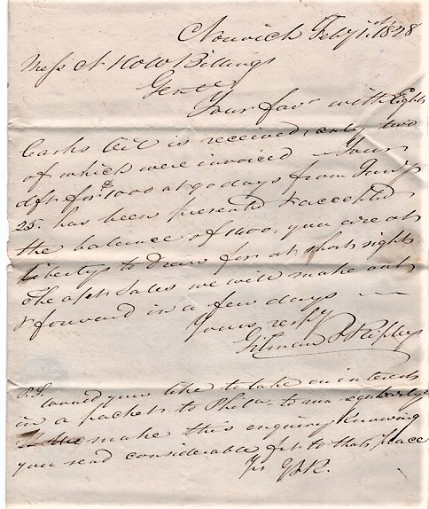 HANDWRITTEN LETTER TO N&WW BILLINGS REGARDING WHALE OIL, &C., DATED AT NORWICH, FEB'Y 1st, 1828. Gilman, Ripley.