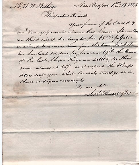 HANDWRITTEN LETTER TO N&WW BILLINGS REGARDING CRUDE WHALE OIL, &C., DATED AT NEW BEDFORD, 1st. mo. 18, 1828. Seth Russell, Sons.