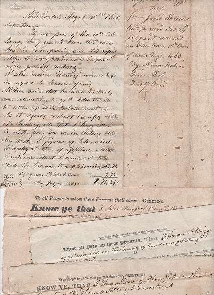GROUP OF SIX (6) HANDWRITTEN LEGAL DOCUMENTS, DATED 1818-1843, FROM THE FAMILY OF BLACKSMITH ISAAC BRIGGS OF PLAINFIELD AND VOLUNTOWN, CONNECTICUT. Isaac Connecticut / Briggs, Family.