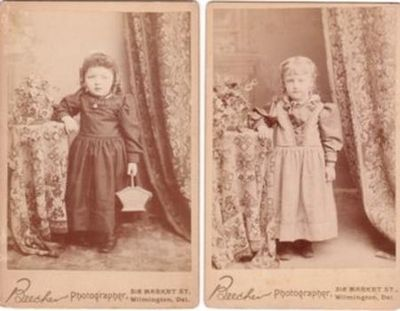 TWO CABINET CARD PHOTOS OF LITTLE GIRLS IN TURN-OF-THE-CENTURY OUTFITS. A. P. Beecher, photographer.