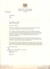 Typewritten Letter Signed (TLS) thanking Galen L. Miller and the Federation of Delaware Teachers for their support. Elbert N. Carvel, Governor of Delaware.