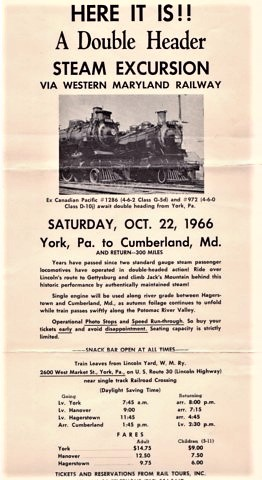 HERE IT IS!! A DOUBLE HEADER STEAM EXCURSION VIA WESTERN MARYLAND RAILWAY...OCT. 22, 1966...YORK, PA. TO CUMBERLAND, MD. Maryland / Western Maryland Railway.