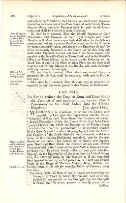 AN ACT TO REDUCE THE DUTY ON RUM AND RUM SHRUB ... IMPORTED FROM CERTAIN BRITISH POSSESSIONS IN THE EAST INDIES ...; Passed by the 4th session of the 13th Parliament in the reign of Her Majesty, Queen Victoria. Parliament of the United Kingdom.