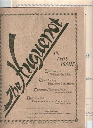 """THE HUGUENOT,"" Vol. 3, Nos. 2 & 3, March & April, 1933. Henry Delavan Frost"