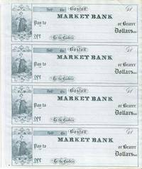 Four unused, engraved checks, drawn on the Market Bank, Boston. Boston / Market Bank of Boston...