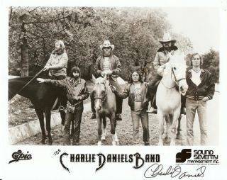 SIGNED, PROFESSIONAL PHOTOGRAPH OF THE CHARLIE DANIELS BAND. Charlie Daniels