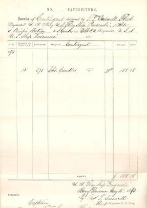 "INVOICE DELIVERED BY THOMAS T. CASWELL, FLEET PAYMASTER, U.S. FLAGSHIP ""PENSACOLA"" TO I...."