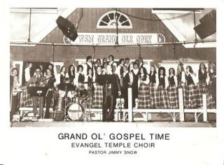 PROFESSIONAL PHOTOGRAPH OF THE EVANGEL TEMPLE CHOIR AND PASTOR JIMMY SNOW:; Onstage as the Grand...