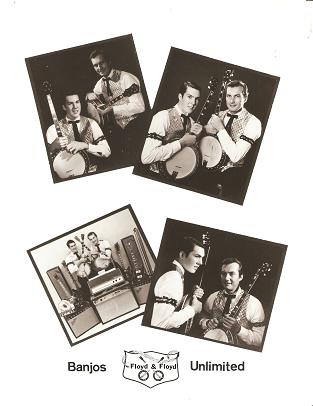 PROFESSIONAL PHOTOGRAPH OF FLOYD & FLOYD, BANJOS UNLIMITED:; Four shots of the duo in Gay 90s...