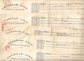 AMERICAN LINE, LIVERPOOL TO PHILADELPHIA -- Five (5) shipping manifests/ bills of lading, specifying the goods shipped and the steamship carrying each shipment:; Issued by Richardson, Spence & Co, European Agents. American Line.