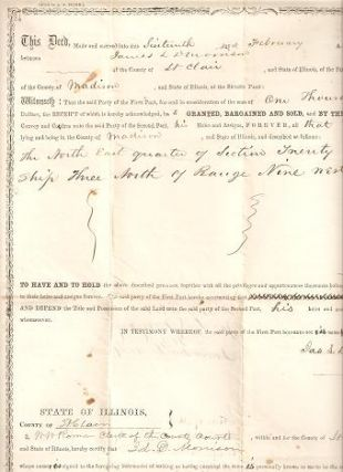 DEED FOR LAND IN MADISON COUNTY, ILLINOIS, SOLD BY JAMES L. MORRISON TO ISAAC HARKLEROAD FOR...