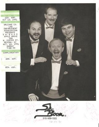 SIGNED, PROFESSIONAL PHOTOGRAPH OF THE VOCAL QUARTET WITHIN THE ROCK N ROLL BAND, SH-BOOM:; with two concert tickets. Sh-Boom.