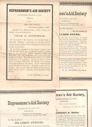 GROUP OF FOUR (4) DEATH NOTICES FOR MEMBERS OF THE EXPRESSMEN'S AID SOCIETY:; Each giving the...
