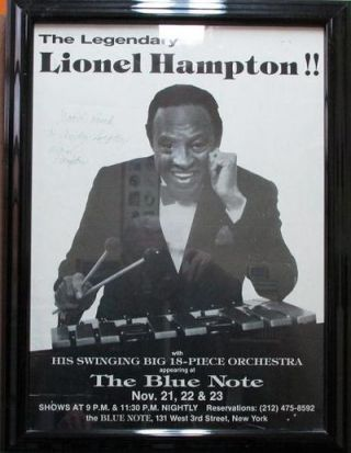 SIGNED POSTER: THE LEGENDARY LIONEL HAMPTON!! WITH HIS SWINGING BIG 18-PIECE ORCHESTRA:;...