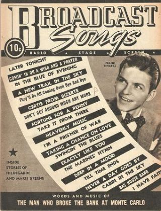 "GROUP OF 16 ISSUES OF ""BROADCAST SONGS"":; Radio, Stage, Screen. Broadcast Songs"